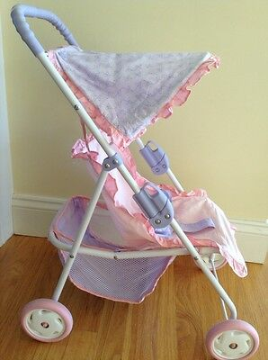 "Retired American Girl Bitty Baby 15"" Doll Stroller Pink Purple with Canopy"
