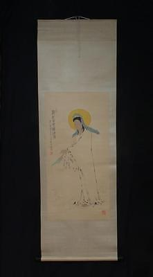Fine Chinese Hand-painting Painting Scroll Fanzen Marked Guangyin p24