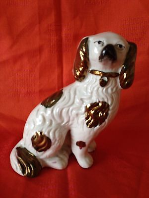 Antique Staffordshire Copper Lustre Pottery Spaniel Wally Dog 19th Century