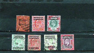 MOROCCO AGENCIES 1900s small KEVII group , values to 1/- and 1p.