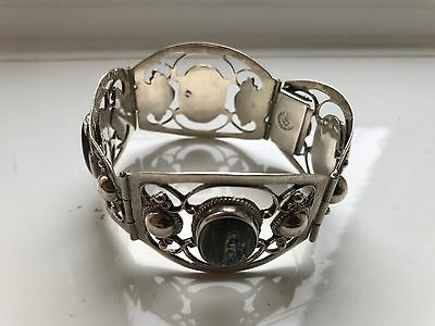 Vintage Wide Silver Mexican Cuff Bracelet With Abalone