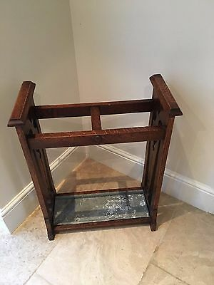 Antique Umbrella Stand With Drip Tray - Victorian - Oak - Collection Or Courier