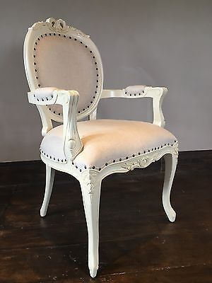 Solid Mahogany Shabby Chic  Cream Biscuit Linen French Carver Armchair Chair
