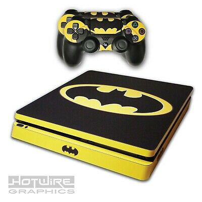 PS4 SLIM Skin Sticker Kit - DC Batman Original Skull Logo Yellow - UK Made