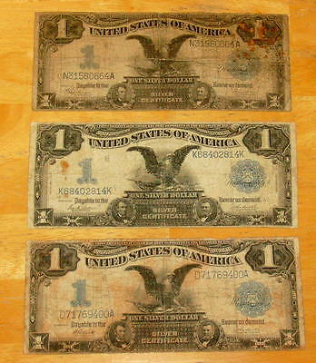 Three BLACK EAGLE 1899 One Dollar SILVER CERTIFICATE $1 Note Currency