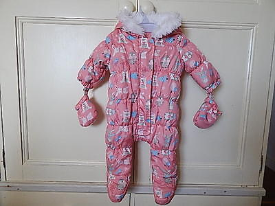 F&f Lovely Baby Girls Pink Animal Pattern Hooded Snowsuit Sz 0-3 Month V Gd Cond
