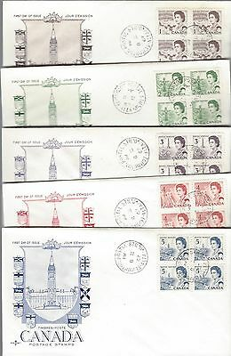 1967 Centennial Def #454-8 blocks - set of 5 FDC with unusual Rose Craft cachet