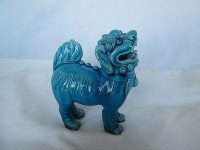 Vintage Turquoise Blue Feng Shui Chinese Foo Fu Dog Guardian Lion Figure Statue