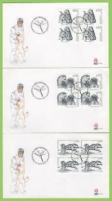 Greenland 2003 Sled Dogs blocks set on three first Day Covers