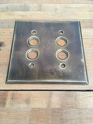Vintage ANTIQUE BRASS Double PUSH BUTTON LIGHT SWITCH PLATE COVER VINTAGE