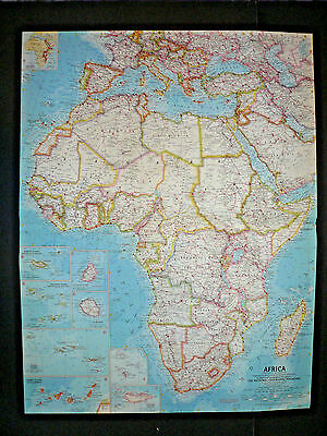"""Vintage 1960 AFRICA Map National Geographic 25""""x19"""""""