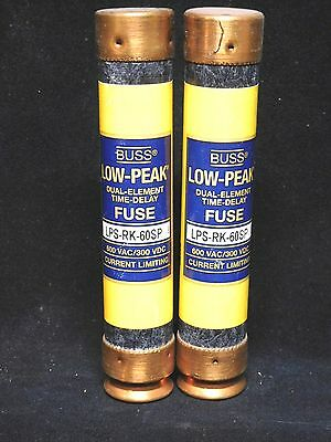 BUSSMANN * LPS-RK-60SP * 60A Low Peak Time Delay Fuse * LOT OF 2 *NEW in BOX