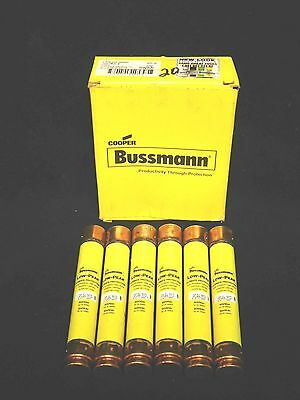 """BUSSMANN * LPS-RK-20SP * Low Peak Time Delay Fuse  (LOT OF 6)  """"NEW LOOK"""" w/BOX"""