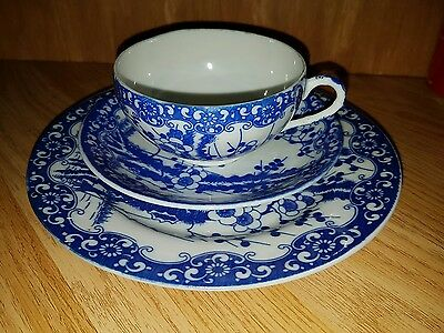 Old Japanese Chinese Eggshell Plate Cup & Saucer Trio Porcelain blue & white