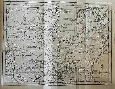1763 newspaper EARLY PRINTING MAP of LOUISIANA aft French Indian War MISSISSIPPI