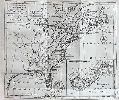 1763 newspaper EARLY PRINTING MAP PROCLAMATION LINE of 1763 French Indian War