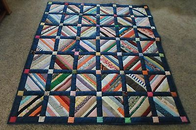 quilt, handmade hand quilted scrap string quilt