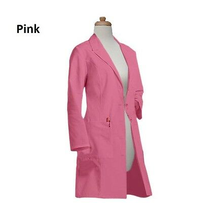 FREE EMBROIDERY Gesture Womens Big Pocket 37 Inch Long White & Colored Lab Coats