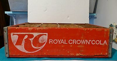 Vintage RC Cola Crate with Wooden Dividers for Quart Bottles