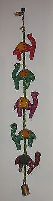 """Long 30"""" Stuffed Hand Crafted Camel Wall Hanging W Beads And Bell"""