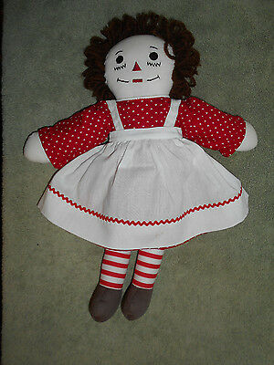 """VTG Raggedy Raggy Ann 15"""" Stuffed Cloth Doll Hand Made Embroidered Face"""