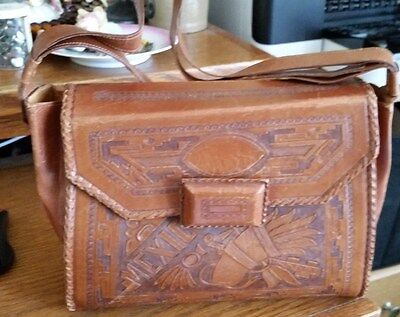 Vintage Hand-Tooled Leather Purse Mexico/Aztec Calendar