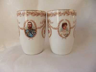 Pair 1919 Royal Doulton Matching  Peace  & Victory Beakers  - 3 1/2 Inches High