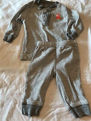 CARTERS BABY BOYS OUTFIT 3 MONTHS SHIRT TOP PANTS 2 PC SET LOT Gray Stripe Fox