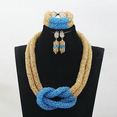 Gold and Blue African Beads Netted Design Necklace Complete Set