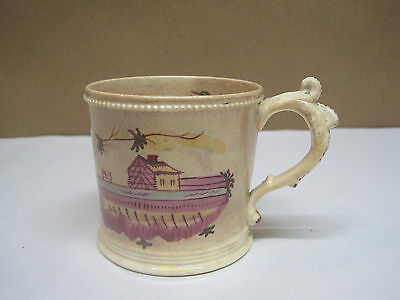Antique Early Staffordshire Childs' Mug Pink Lustre Hand Painted Naive Houses