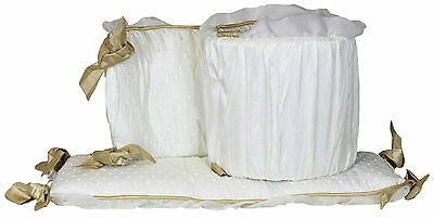 Juliette White, Stylish Ivory and Gold Crib Bumper by The Peanut Shell