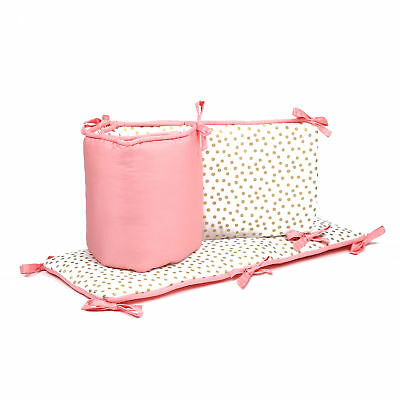 Gold Confetti Dot and Coral Pink Baby Crib Reversible Bumper by The Peanut Shell