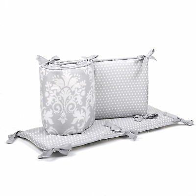 Grey Damask and Polka Dots Reversible Crib Bumper by The Peanut Shell