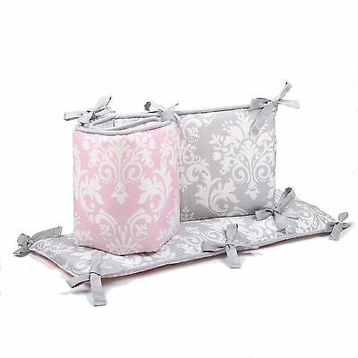 Pink and Grey Damask Reversible Baby Crib Bumper by The Peanut Shell