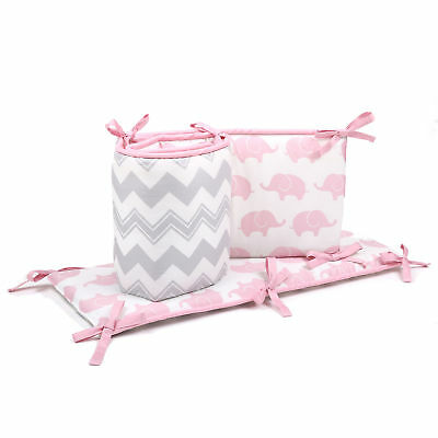 Grey Chevron and Pink Elephant Baby Crib Reversible Bumper by The Peanut Shell