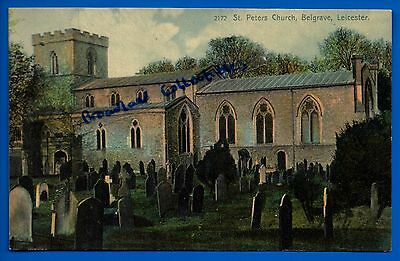 Old Postcard St Peters Church Belgrave Leicester Leicestershire Nr Birstall