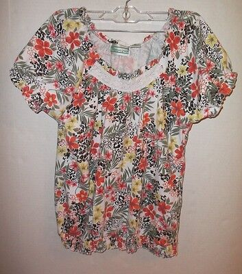 Shenanigans Women's Size S Floral Short Sleeve Casual Shirt Spring
