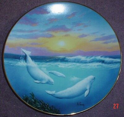 W S George Fine China Collectors Plate WHITE WHALE OF THE NORTH Whale