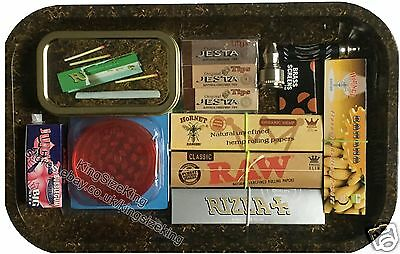 RAW Rolling Papers Gift Set Metal Tray Filter Tips Grinder Rizla King size & Tin