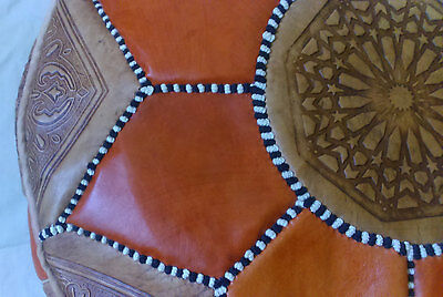 Moroccan handmade leather Pouf Ottoman Poof Pouffe pouffes hassock Footstool