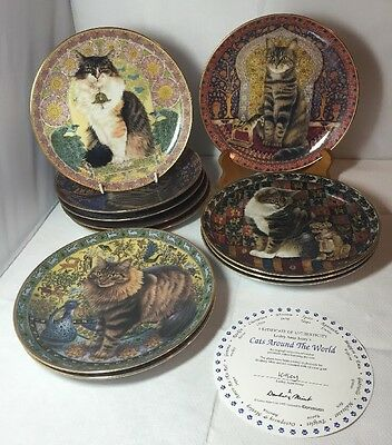 11 Danbury Mint Lesley Anne Ivory's Cats Around the World Plates