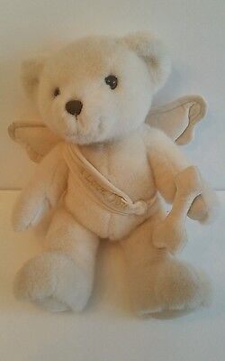 "13"" Dakin White Baby Teddy Bear Stuffed Animal Plush Toy With Wings I Love You"