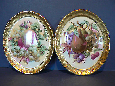 Vintage Paragon Fruit Pattern Wall Plaques
