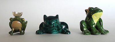 Lot of 3 Charming FROG Figurines Small Green Sculptures, Malachite Wood Ceramic