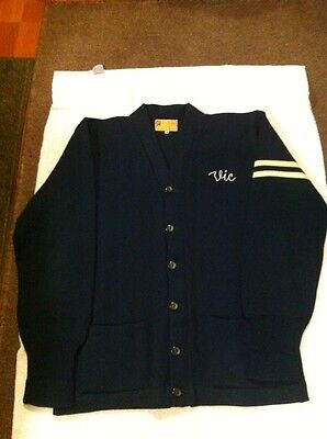 Vintage H.L. Whiting Green LETTERMAN Sweater SZ (44) Perfect