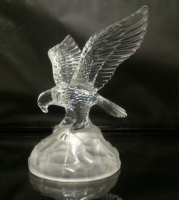 Beautiful Vintage Lead Crystal Glass Eagle With Fish On Rock.