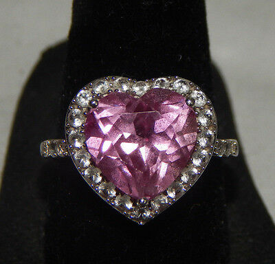 10K White Gold Pink Heart Ring Zales Pink Heart RING White Gold Size 7 Ring