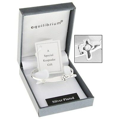 Baby Silver Plated Christening Cross Bangle