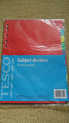 **10 Part Pack Of Multi Coloured Cardboard Dividers**