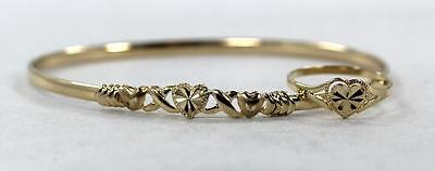 14K Yellow Beverly Hills Gold Matching Set Heart Style Bangle Bracelet & Ring.